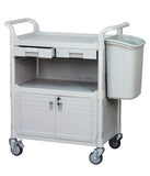 Heavy Duty Long bin for Utility Carts Hospital Cart, off-white - JaboeEuip 3 tiers Shelving Office Rolling Utility cart Service cart Rolling cart