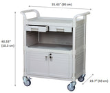 Lockable Medical carts with lockable door and drawers, 606 lbs - JaboeEuip 3 tiers Shelving Office Rolling Utility cart Service cart Rolling cart