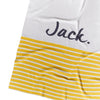 Grey Marl, Ombre Blue & Mustard Stripe Personalised Name Blanket