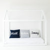 Personalised Indigo Navy & Ivory Name Cushion
