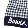 CHECK Cotton Cashmere Navy & Ivory Personalised Name Blanket