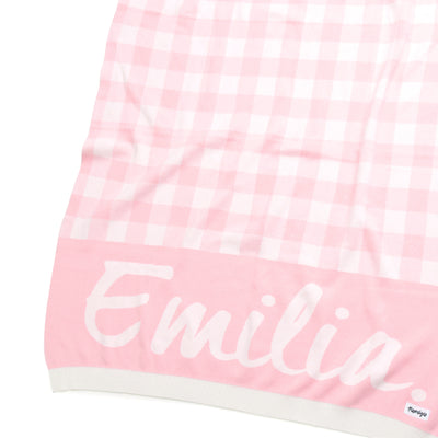CHECK Cotton Cashmere Ballerina Pink & Milk Name Blanket