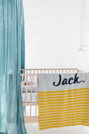 Load image into Gallery viewer, Snow Marl, Ombre Blue & Mustard Stripe Personalised Name Blanket