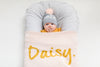 Rose Pink & Mustard Personalised Name Blanket