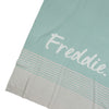 Stripe Blue Haze, Snow Marle & Ivory Personalised Name Blanket