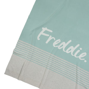 Load image into Gallery viewer, Stripe Blue Haze, Snow Marle & Ivory Personalised Name Blanket
