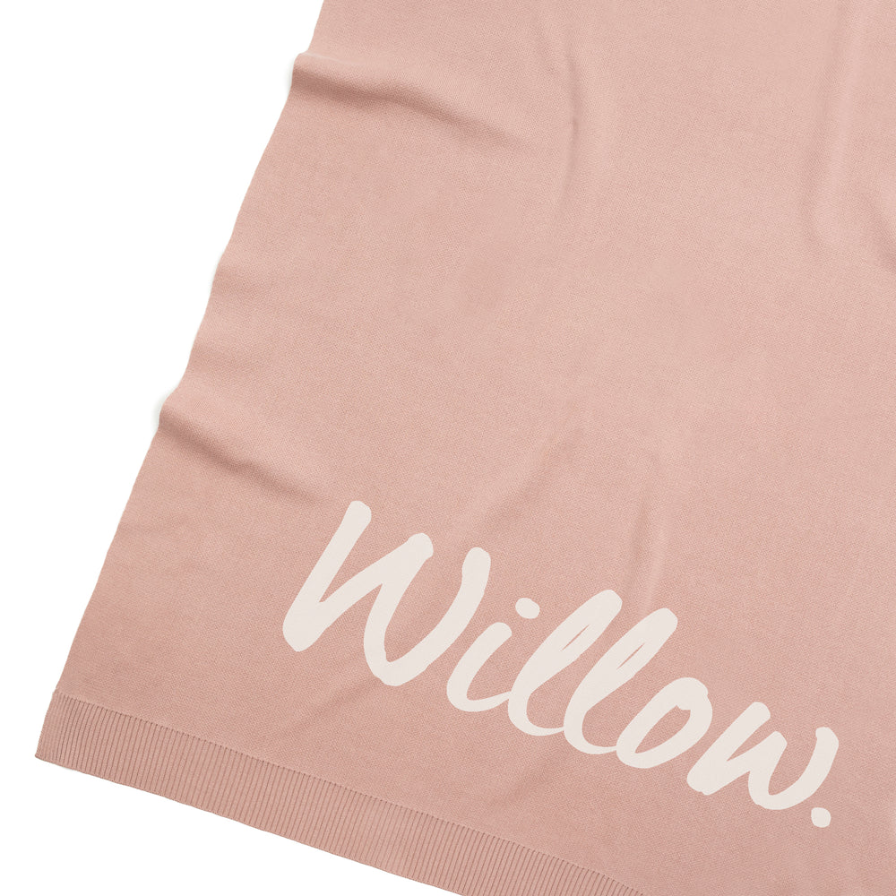 Misty Rose & Coconut Single Bed Personalised Name Blanket