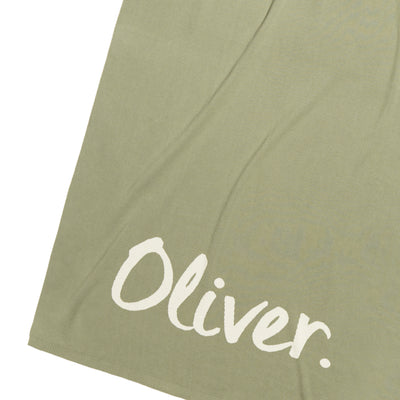 Fern Green & Coconut Single Bed Personalised Name Blanket
