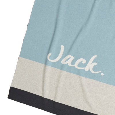 Cotton Cashmere Panel Chambray, Navy & Grey Personalised Blanket