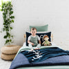 Indigo Navy & Ivory Single Bed Personalised Name Blanket