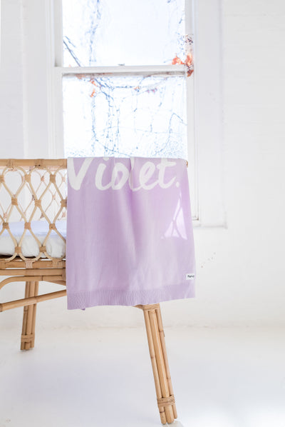 Violet & Ivory Personalised Name Blanket
