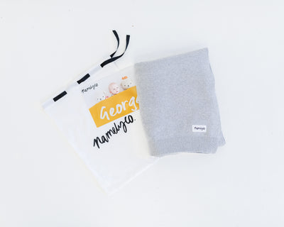 Rust & Pearl Grey Personalised Name Blanket