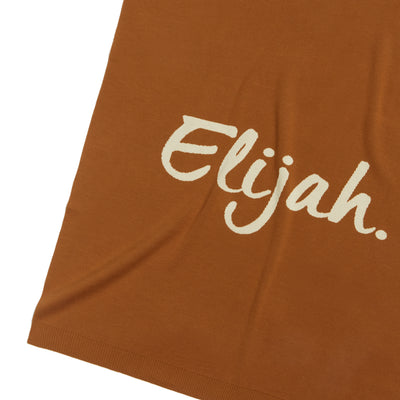 Bombay Brown and Coconut Milk Personalised Name Blanket