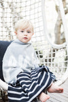 Indigo Navy, Grey & Ivory Stripe Personalised Name Blanket