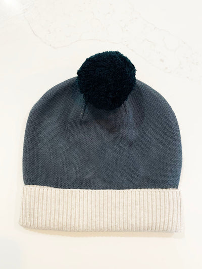 BEANIE- Cadet Blue and Snow Marle