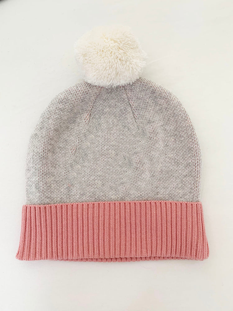 Load image into Gallery viewer, BEANIE: Snow Marl & Lily Pink