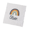 Mini Doll RAINBOW Personalised Name Blanket- CADET BLUE