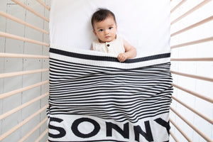 Load image into Gallery viewer, Chunky Stripe Charcoal and Ivory Blanket