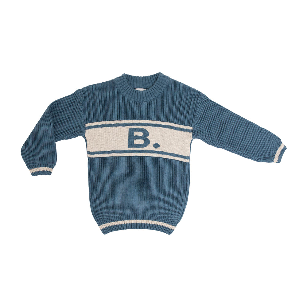 Alphabet Jumper Blue Aviation & Coconut Marl
