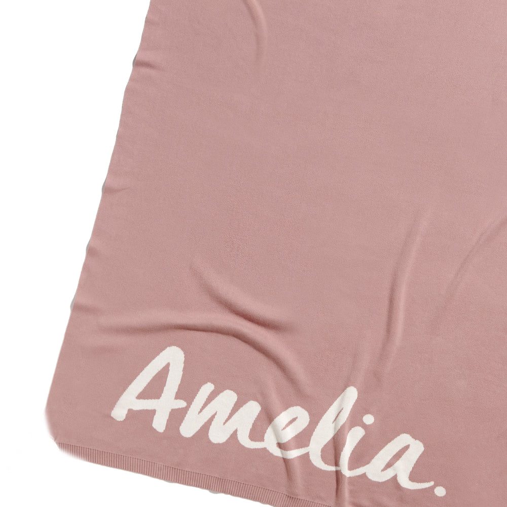 Rose Bloom & Ivory Single Bed Personalised Name Blanket