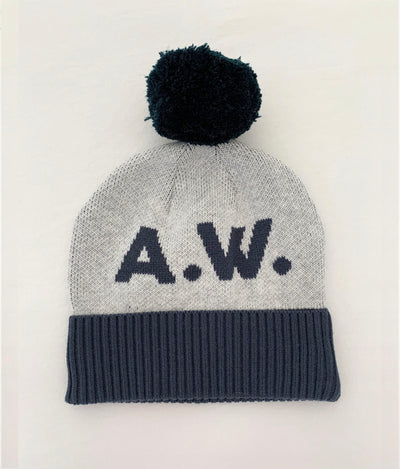 BEANIE- Snow Marle and Enamel Blue