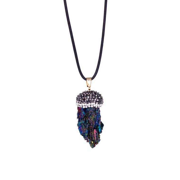 Rough Iridescent Stone and Crystal Pave Leather Pendant Necklace