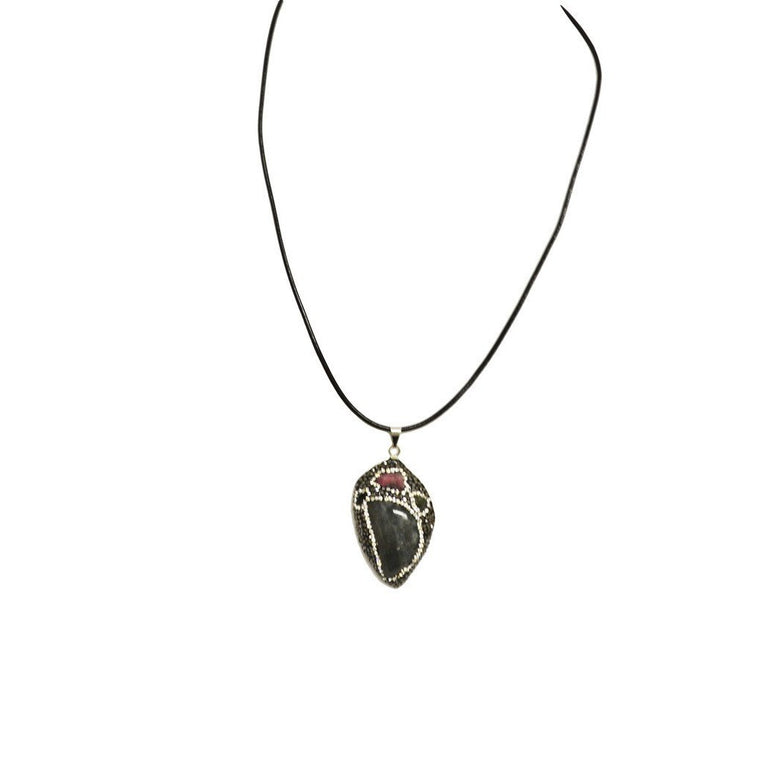 Pave Crystal and Stone Pendant on Leather Necklace