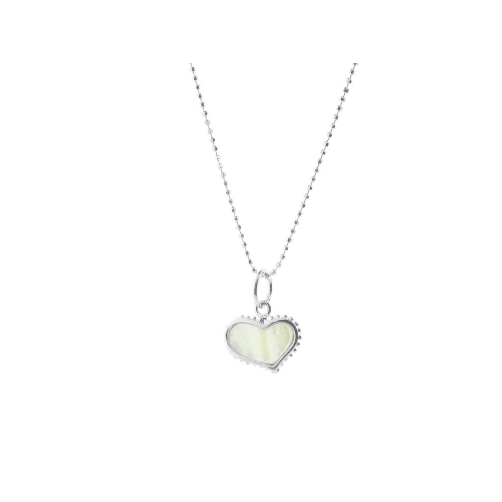 Mother of Pearl Heart Pendant Necklace in Vermeil, 16""