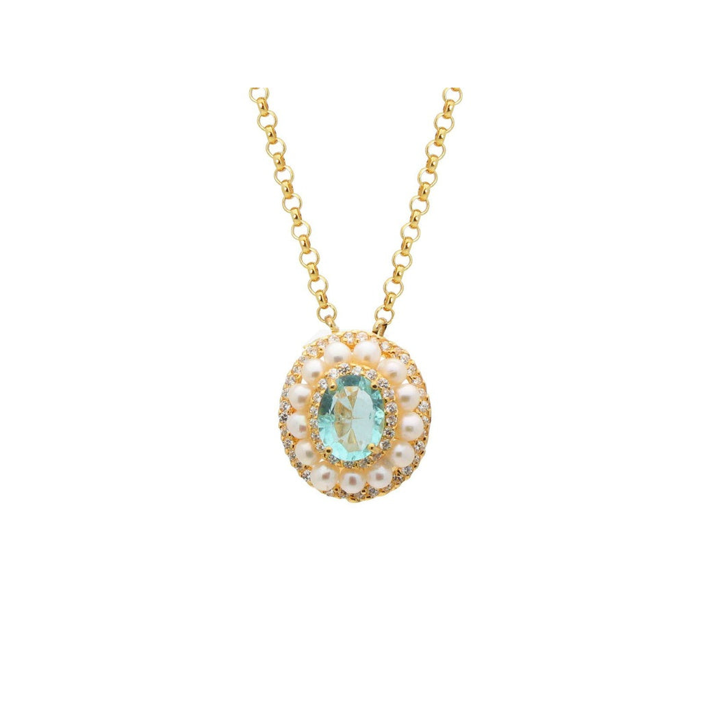 Lab Paraiba & Pearl Pendant Necklace in Gold Plated Sterling Silver by Fronay