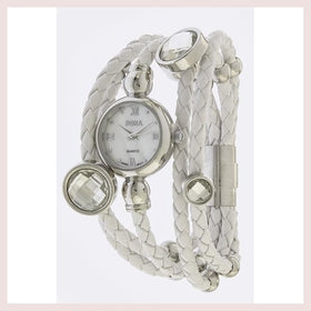 Silver and Braided White Leather Layered Stone Accent Watch for $64.00 at Jewelry and More