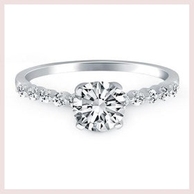 14K White Gold Diamond Engagement Ring with Shared Prong Diamond Accents for $1755.60 at Jewelry and More