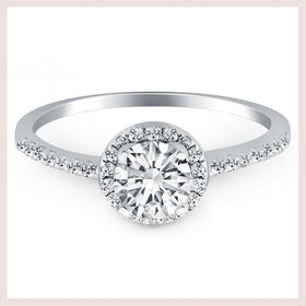 14K White Gold Diamond Halo Collar Engagement Ring for $1921.85 at Jewelry and More