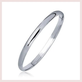 14K White Gold Dome Children's Bangle with a Polished Finish for $179.83 at Jewelry and More