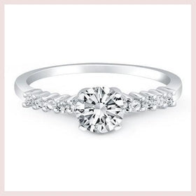 14K White Gold Shared Prong Accent Diamond Engagement Ring for $1762.25 at Jewelry and More