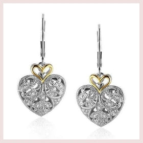 14K Yellow Gold and Sterling Silver Intricate Filigree Heart Drop Earrings for $149.63 at Jewelry and More