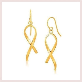 14K Yellow Gold Ribbon Style Dangling Earrings for $112.55 at Jewelry and More