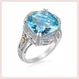 18K Yellow Gold and Sterling Silver Blue Topaz and Diamond Fleur De Lis Ring for $260.11 at Jewelry and More