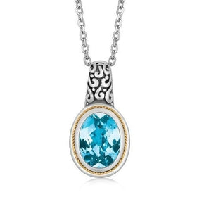 18K Yellow Gold and Sterling Silver Necklace with Blue Topaz Milgrained Pendant, size 18''