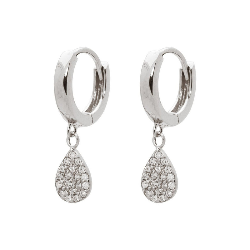 Sterling Silver CZ Rain Drop Huggie Earrings