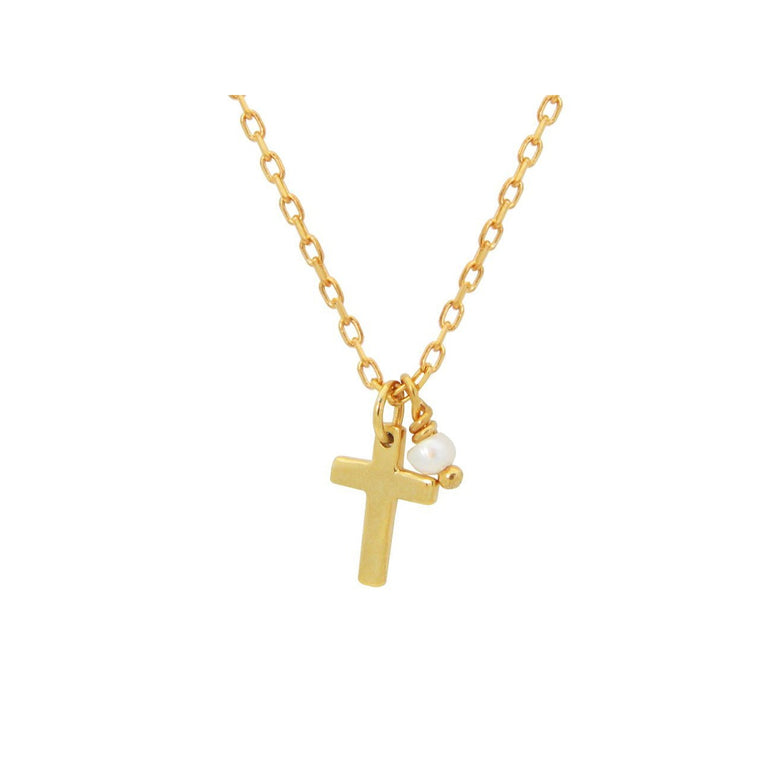 Mini Cross & Pearl Charm Necklace in 925 Sterling Silver, 15