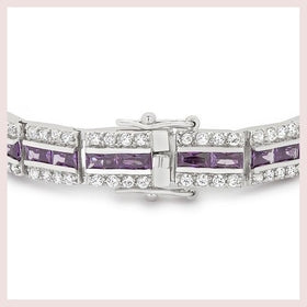 Purple and Silver Triple Row Bracelet for $153.00 at Jewelry and More