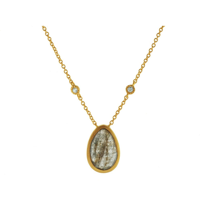 "Pear Shaped Labradorite Stone Necklace with Cubic Zirconias in Vermeil, 16"" + 2"""