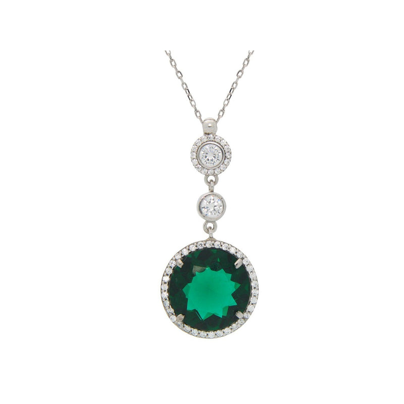 Fronay Co .925 Sterling Silver Imitiation Green Emerald Pendant Necklace, 16""