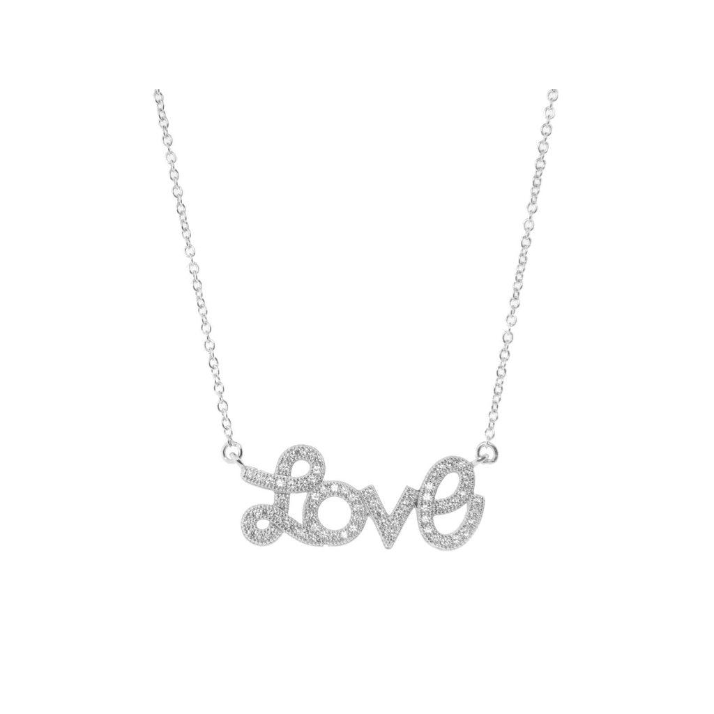 "Pave Love Script Necklace in Rhodium Plated Sterling Silver, 16"" + 2"""