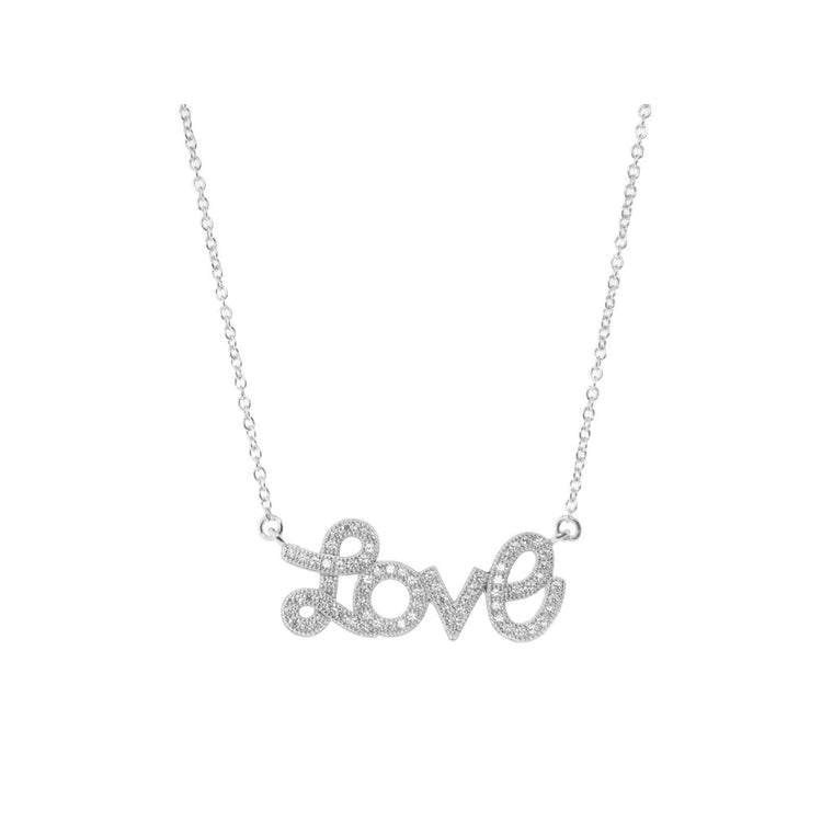 Pave Love Script Necklace in Rhodium Plated Sterling Silver, 16