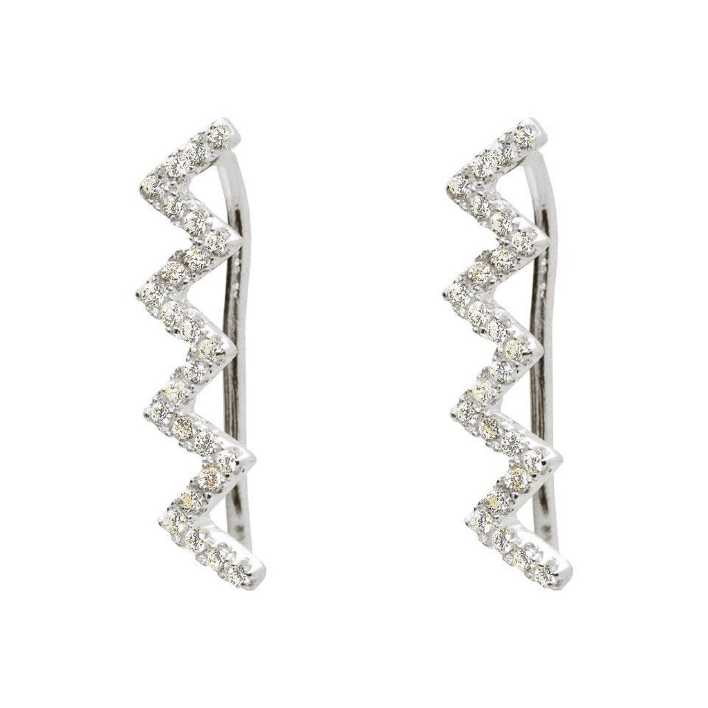 Silver Rhodium Plated Zig-Zag CZ Climbers Earrings