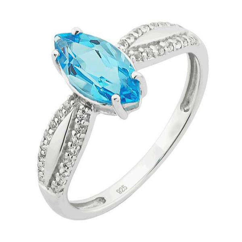 Sterling Silver Genuine Swiss Blue Topaz Marquise & White Topaz Ring