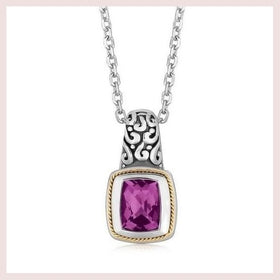 18K Yellow Gold and Sterling Silver Necklace with Milgrained Amethyst Pendant for $157.75 at Jewelry and More