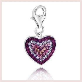 Sterling Silver Heart Charm with Purple Peach and Lavender Tone Crystals-Jewelry and More