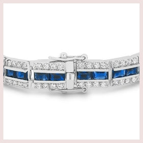 Blue and Silver Triple Row Bracelet for $117.00 at Jewelry and More